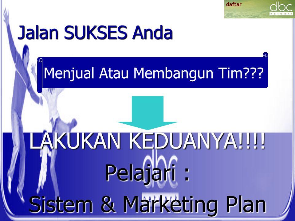Jalan SUKSES Anda LAKUKAN KEDUANYA!!!! Pelajari : Sistem & Marketing Plan Menjual Atau Membangun Tim???