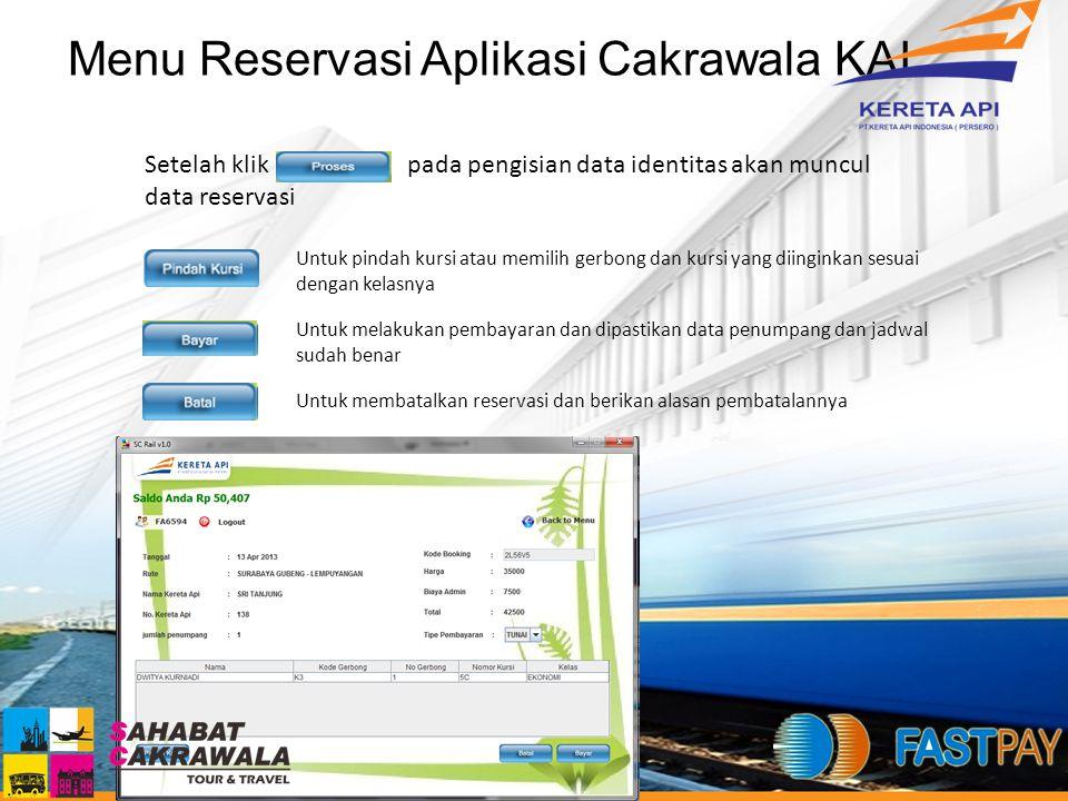 Menu Reservasi Aplikasi Cakrawala KAI Setelah klik pada pengisian data identitas akan muncul data reservasi Untuk pindah kursi atau memilih gerbong da
