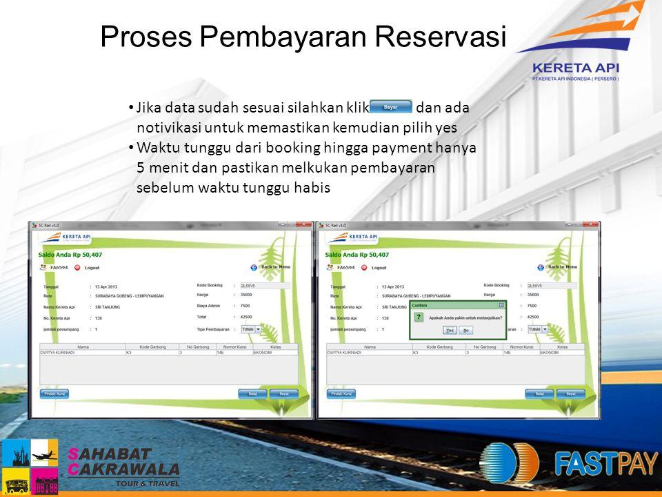 Proses Pembayaran Reservasi Jika data sudah sesuai silahkan klik dan ada notivikasi untuk memastikan kemudian pilih yes Waktu tunggu dari booking hing