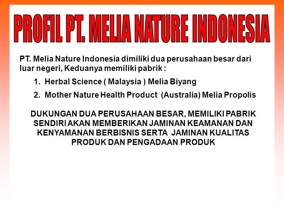 PT. Melia Nature Indonesia dimiliki dua perusahaan besar dari luar negeri, Keduanya memiliki pabrik : 1. Herbal Science ( Malaysia ) Melia Biyang 2. M