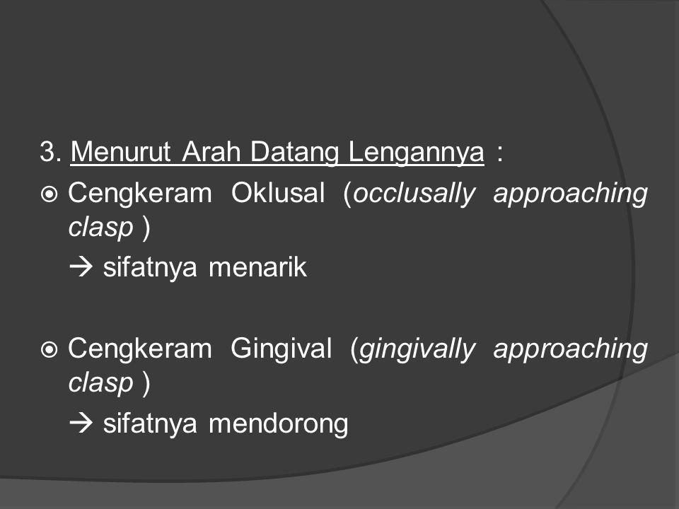 3. Menurut Arah Datang Lengannya :  Cengkeram Oklusal (occlusally approaching clasp )  sifatnya menarik  Cengkeram Gingival (gingivally approaching