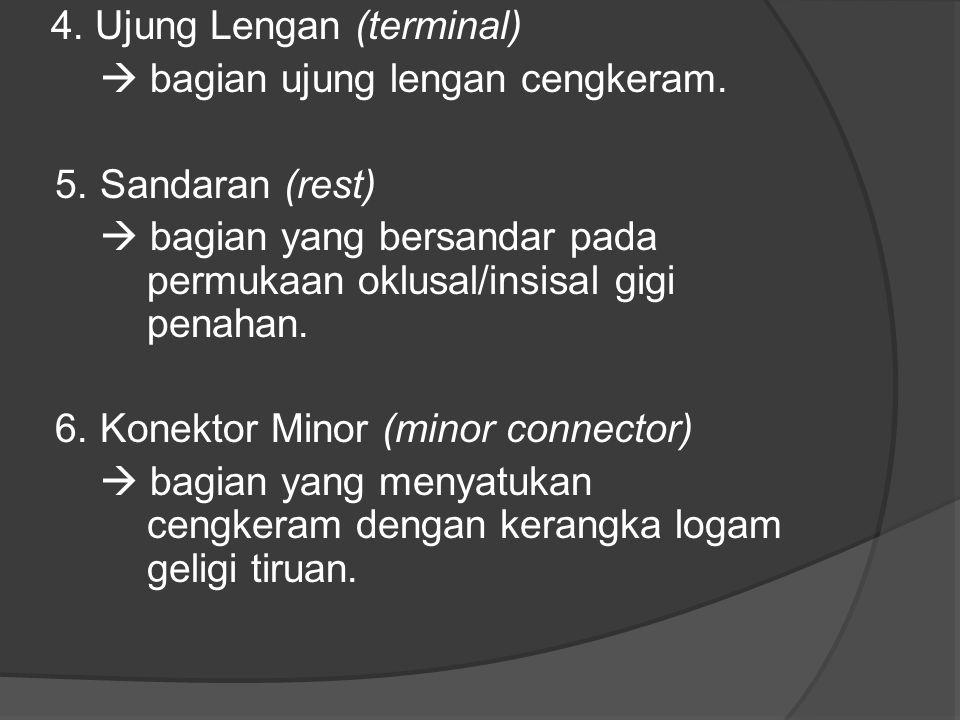 4. Ujung Lengan (terminal)  bagian ujung lengan cengkeram. 5. Sandaran (rest)  bagian yang bersandar pada permukaan oklusal/insisal gigi penahan. 6.