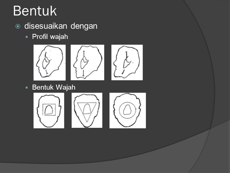 Bentuk  disesuaikan dengan Profil wajah Bentuk Wajah