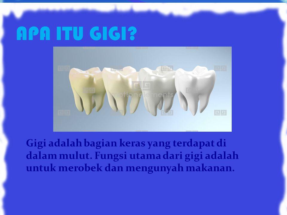 APA ITU GIGI.Gigi adalah bagian keras yang terdapat di dalam mulut.