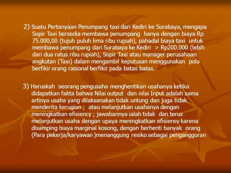 2) Suatu Pertanyaan Penumpang taxi dari Kediri ke Surabaya, mengapa Sopir Taxi bersedia membawa penumpang hanya dengan biaya Rp 75.000,00 (tujuh puluh