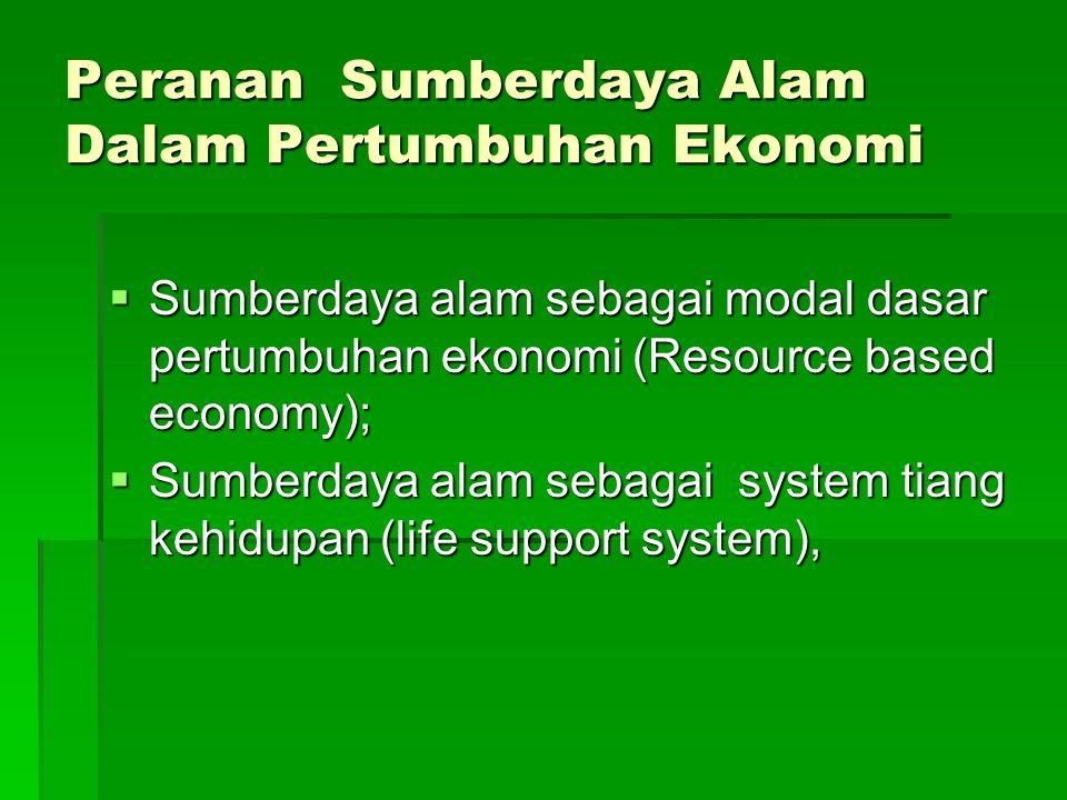 Peranan Sumberdaya Alam Dalam Pertumbuhan Ekonomi  Sumberdaya alam sebagai modal dasar pertumbuhan ekonomi (Resource based economy);  Sumberdaya ala