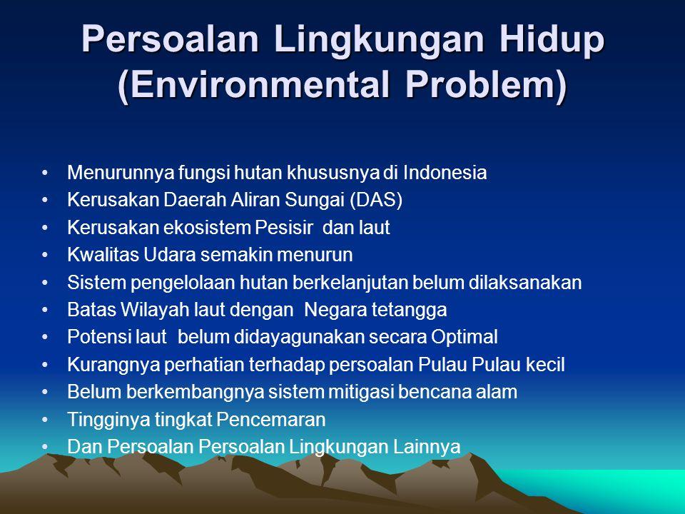 Persoalan Lingkungan Hidup (Environmental Problem) Menurunnya fungsi hutan khususnya di Indonesia Kerusakan Daerah Aliran Sungai (DAS) Kerusakan ekosi