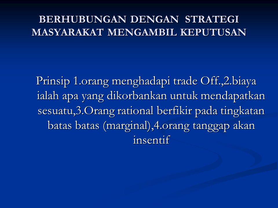tBerhubungan dengan strategi menghadapi Interaksi masyrakat Prinsip 5 : Perdagangan Manguntungkan Semua Pihak Prinsip 6 : Pasar adalah Tempat Yang Baik Untuk Mengorganisasikan Kegiatan Ekonomi Prinsip 7 : Pemerintah Terkadang Mampu Meningkatkan Hasil-hasil Dari Pasar