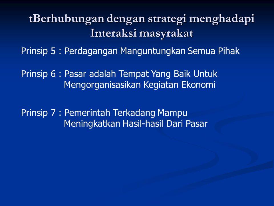 tBerhubungan dengan strategi menghadapi Interaksi masyrakat Prinsip 5 : Perdagangan Manguntungkan Semua Pihak Prinsip 6 : Pasar adalah Tempat Yang Bai