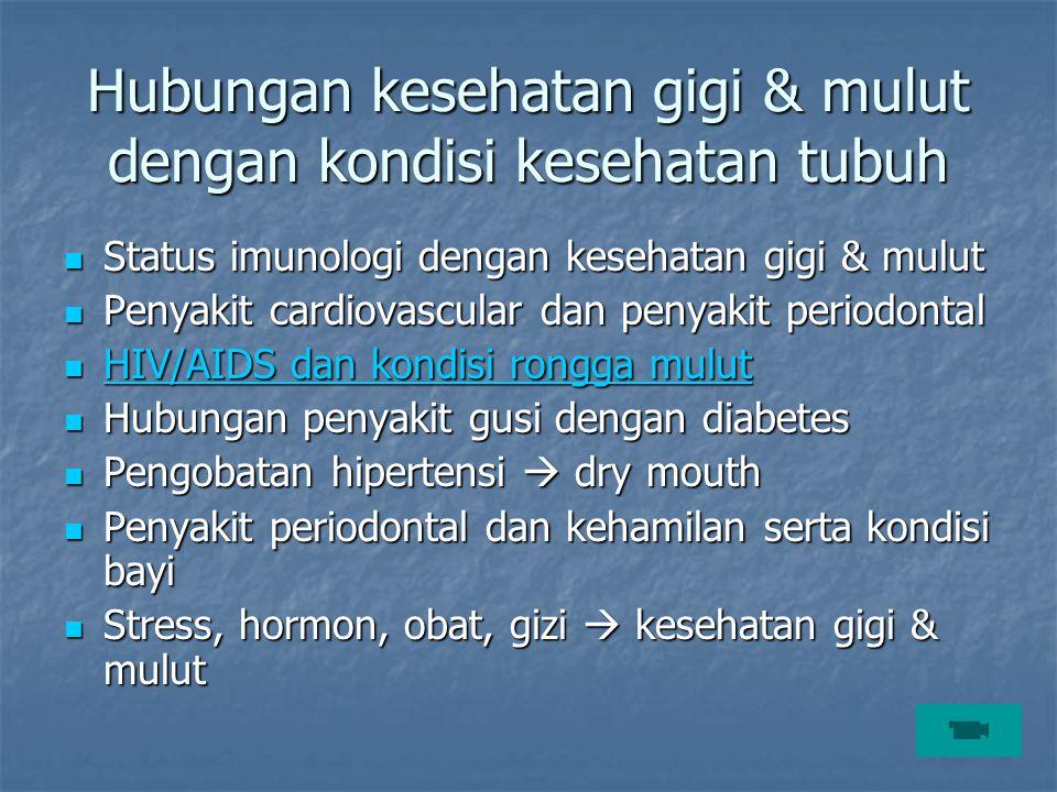 Hubungan kesehatan gigi & mulut dengan kondisi kesehatan tubuh Status imunologi dengan kesehatan gigi & mulut Status imunologi dengan kesehatan gigi &