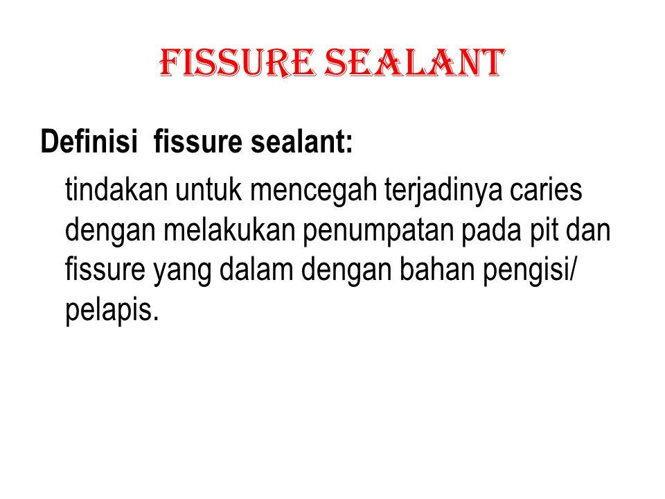 Fissure Sealant Pit dan fisur merupakan tempat tumbuhnya plak yang tersembunyi dan sukar dibersihkan.