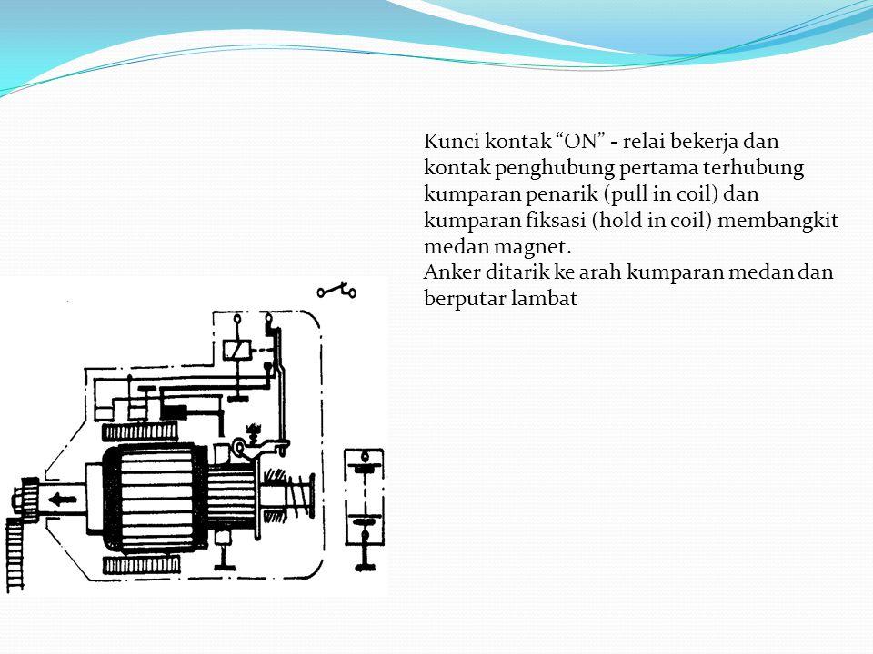 """Kunci kontak """"ON"""" - relai bekerja dan kontak penghubung pertama terhubung kumparan penarik (pull in coil) dan kumparan fiksasi (hold in coil) membangk"""