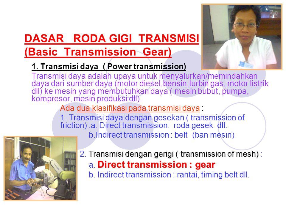 DASAR RODA GIGI TRANSMISI (Basic Transmission Gear) 1. Transmisi daya ( Power transmission) Transmisi daya adalah upaya untuk menyalurkan/memindahkan
