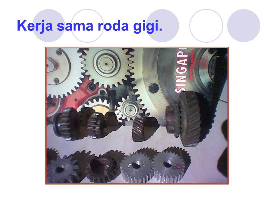 Syarat dua roda gigi bekerja-sama: Beberapa hal yang cukup penting pada kerjasama roda gigi, apabila dua roda gigi atau lebih bekerja sama maka : 1.