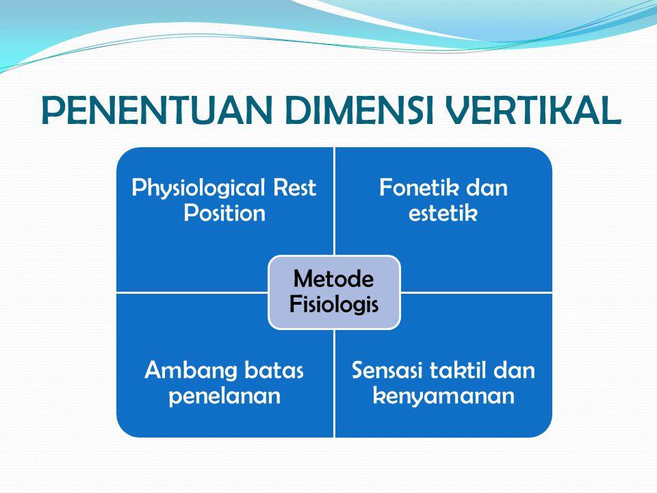 PENENTUAN DIMENSI VERTIKAL Physiological Rest Position Fonetik dan estetik Ambang batas penelanan Sensasi taktil dan kenyamanan Metode Fisiologis