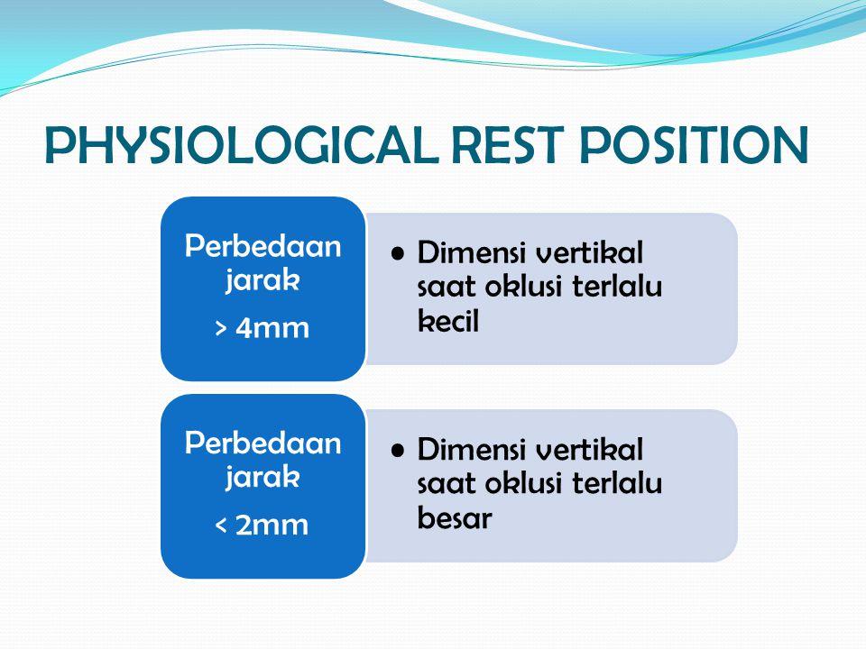 PHYSIOLOGICAL REST POSITION Dimensi vertikal saat oklusi terlalu kecil Perbedaan jarak > 4mm Dimensi vertikal saat oklusi terlalu besar Perbedaan jara