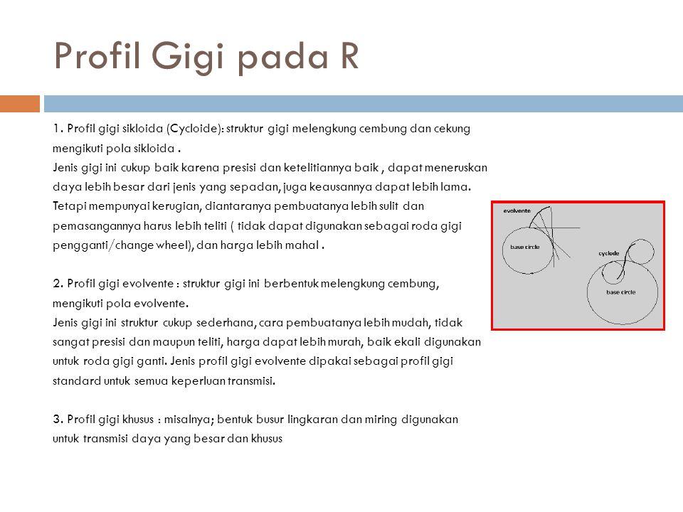 Profil Gigi pada R 1. Profil gigi sikloida (Cycloide): struktur gigi melengkung cembung dan cekung mengikuti pola sikloida. Jenis gigi ini cukup baik
