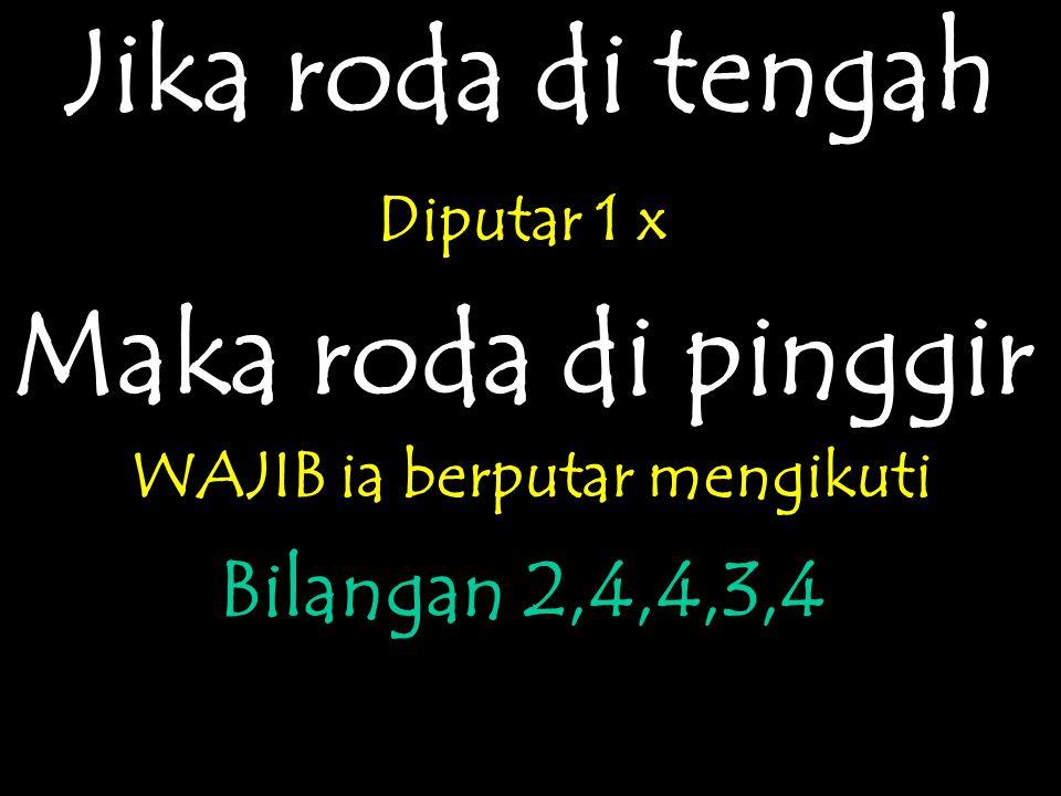 Jika roda di tengah Diputar 1 x Maka roda di pinggir WAJIB ia berputar mengikuti Bilangan 2,4,4,3,4