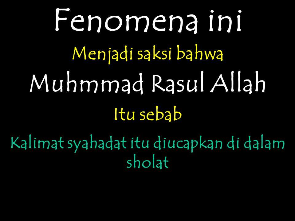 Fenomena ini Menjadi saksi bahwa Muhmmad Rasul Allah Itu sebab Kalimat syahadat itu diucapkan di dalam sholat