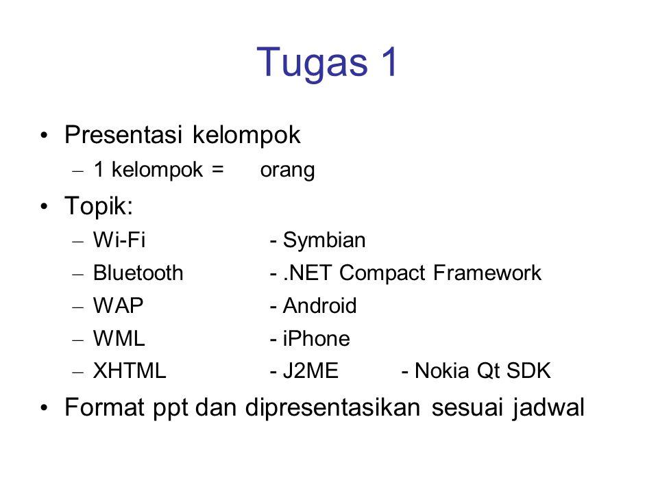 Tugas 1 Presentasi kelompok – 1 kelompok = orang Topik: – Wi-Fi- Symbian – Bluetooth-.NET Compact Framework – WAP- Android – WML- iPhone – XHTML- J2ME