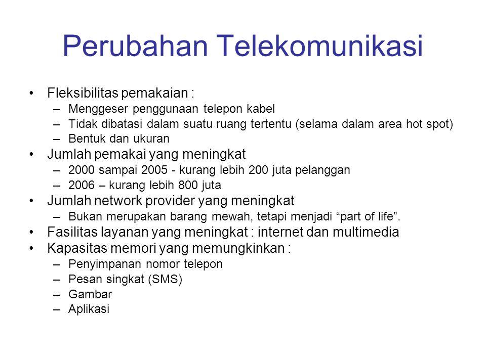 Perubahan Telekomunikasi Fleksibilitas pemakaian : –Menggeser penggunaan telepon kabel –Tidak dibatasi dalam suatu ruang tertentu (selama dalam area h