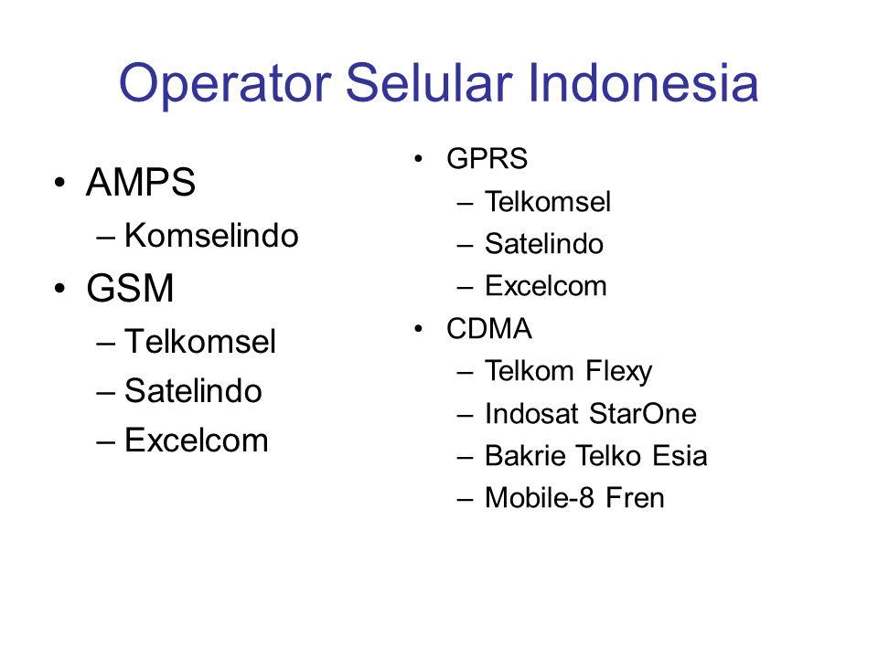 Operator Selular Indonesia AMPS –Komselindo GSM –Telkomsel –Satelindo –Excelcom GPRS –Telkomsel –Satelindo –Excelcom CDMA –Telkom Flexy –Indosat StarO