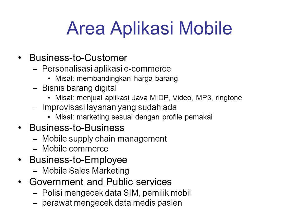 Area Aplikasi Mobile Business-to-Customer –Personalisasi aplikasi e-commerce Misal: membandingkan harga barang –Bisnis barang digital Misal: menjual a