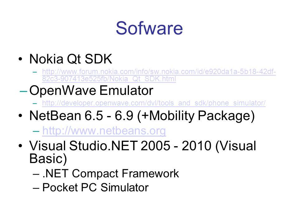 Sofware Nokia Qt SDK –http://www.forum.nokia.com/info/sw.nokia.com/id/e920da1a-5b18-42df- 82c3-907413e525fb/Nokia_Qt_SDK.htmlhttp://www.forum.nokia.co