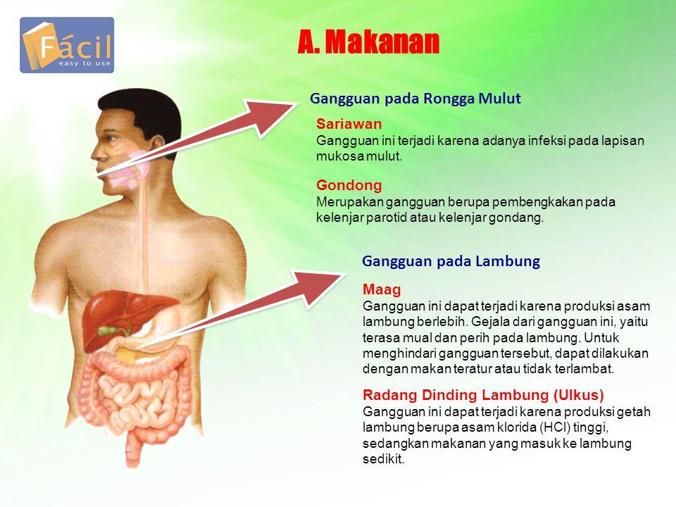 A. Makanan Sariawan Gangguan ini terjadi karena adanya infeksi pada lapisan mukosa mulut. Gangguan pada Rongga Mulut Gondong Merupakan gangguan berupa