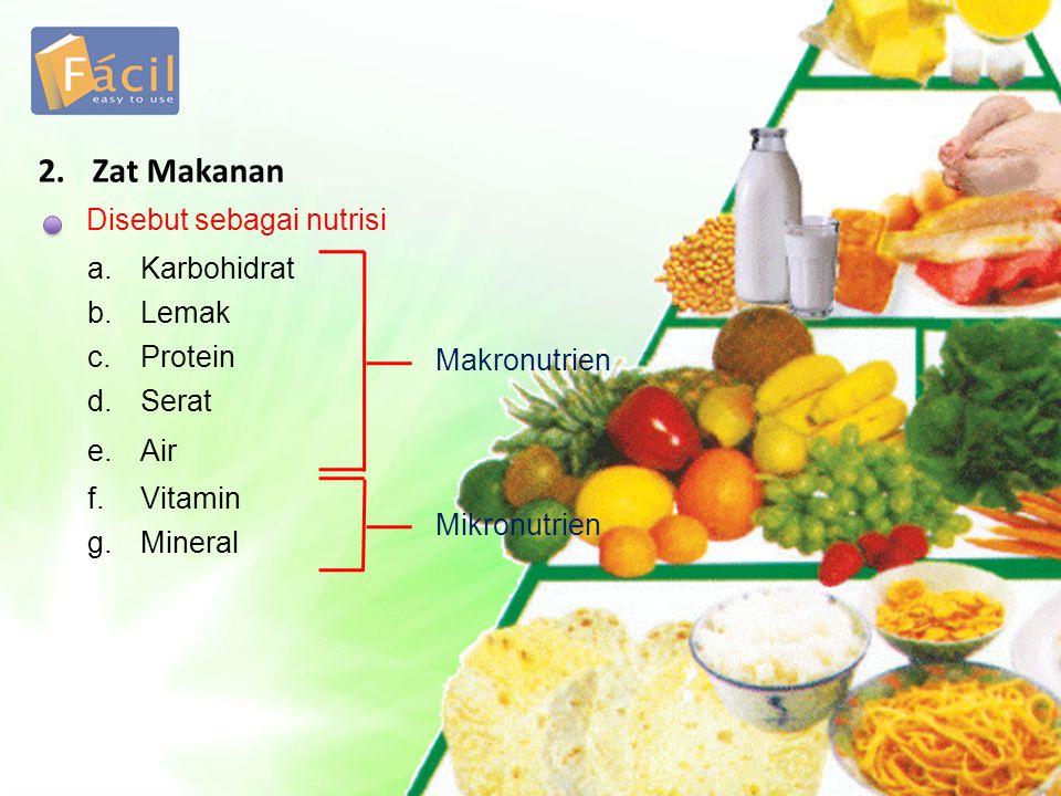 Disebut sebagai nutrisi 2. Zat Makanan a.Karbohidrat b.Lemak c.Protein d.Serat e.Air f.Vitamin g.Mineral Makronutrien Mikronutrien