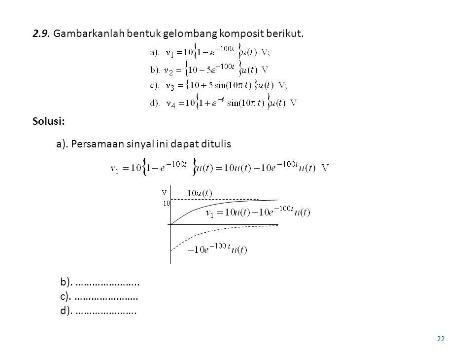 22 2.9. Gambarkanlah bentuk gelombang komposit berikut. Solusi: a). Persamaan sinyal ini dapat ditulis b). ………………….. c). ………………….. d). ………………….
