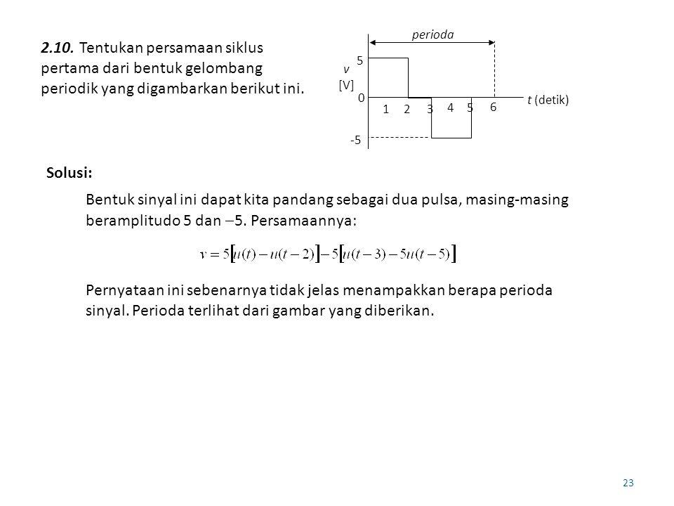 23 2.10. Tentukan persamaan siklus pertama dari bentuk gelombang periodik yang digambarkan berikut ini. 5 -5 0 t (detik) v [V] perioda 123 45 6 Solusi