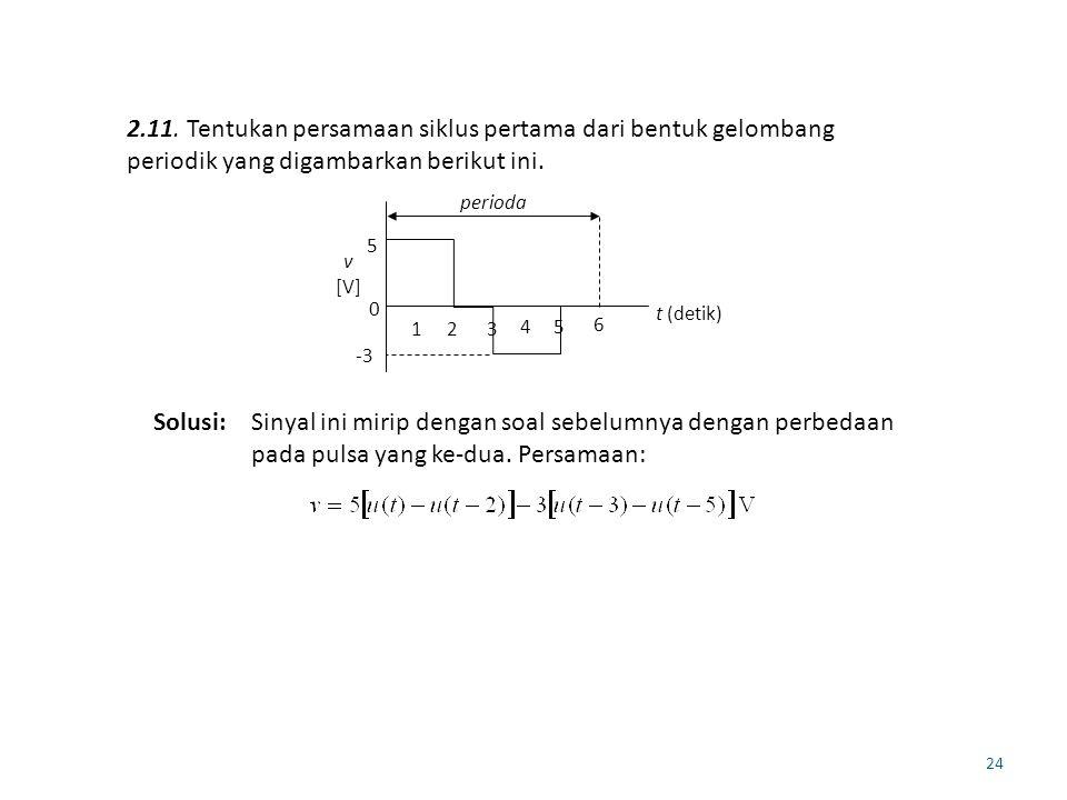 24 2.11. Tentukan persamaan siklus pertama dari bentuk gelombang periodik yang digambarkan berikut ini. 5 -3 0 t (detik) v [V] perioda 123 45 6 Solusi