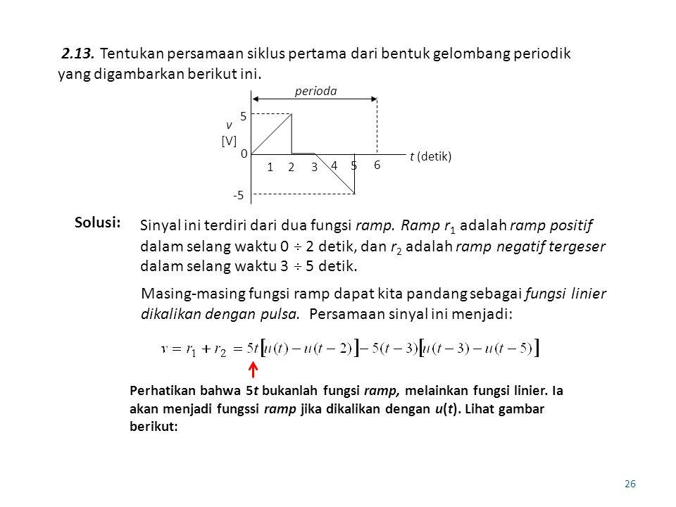 26 2.13. Tentukan persamaan siklus pertama dari bentuk gelombang periodik yang digambarkan berikut ini. 5 -5 0 t (detik) v [V] perioda 123 45 6 Solusi