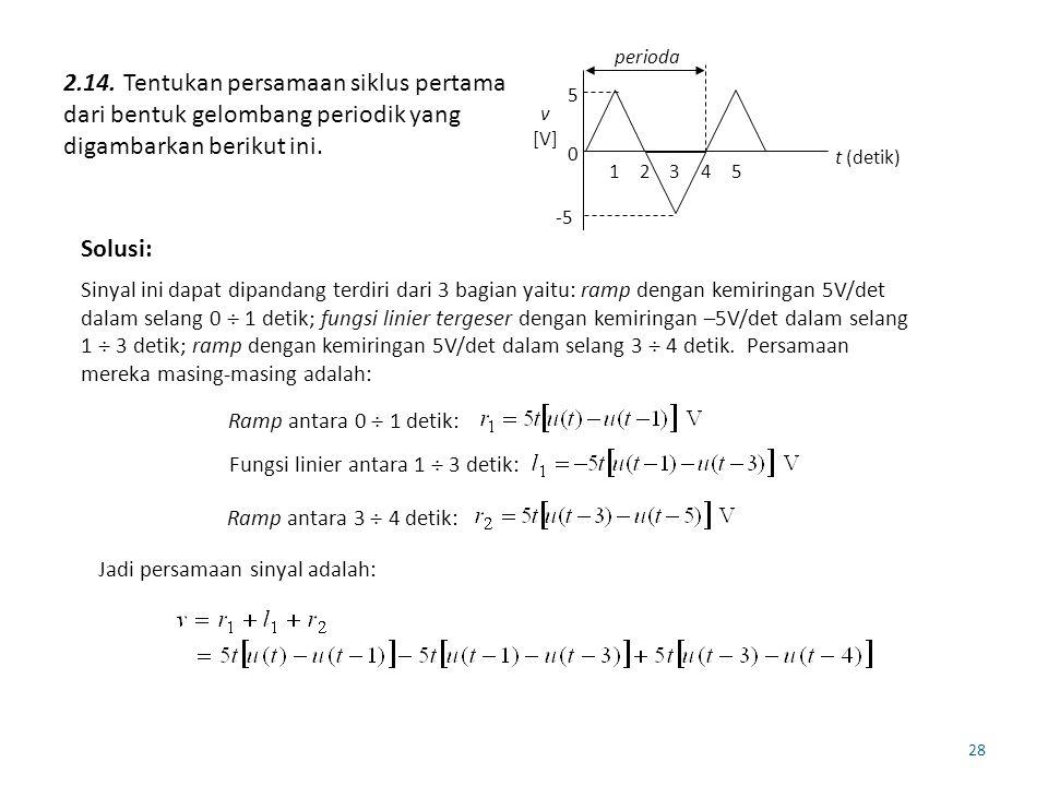 28 2.14. Tentukan persamaan siklus pertama dari bentuk gelombang periodik yang digambarkan berikut ini. -5 0 t (detik) v [V] perioda 5 12345 Solusi: S