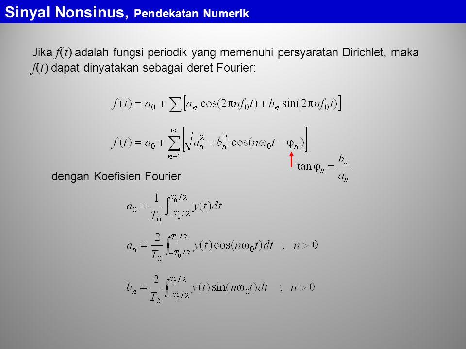Sinyal Nonsinus, Pendekatan Numerik Pendekatan Numerik Spektrum Sinyal Nonsinus Koefisien Fourier: luas bidang yang dibatasi oleh kurva y(t) dengan sumbu-t dalam rentang satu perioda luas bidang yang dibatasi oleh kurva dengan sumbu-t dalam rentang satu perioda luas bidang yang dibatasi oleh kurva dengan sumbu-t dalam rentang satu perioda Dengan penafsiran bentuk integral sebagai luas bidang, setiap bentuk sinyal periodik dapat dicari koefisien Fourier-nya, yang berarti pula dapat ditentukan spektrumnya Dalam praktik, sinyal nonsinus diukur dengan menggunakan alat ukur elektronik yang dapat menunjukkan langsung spektrum amplitudo dari sinyal nonsinus yang diukur