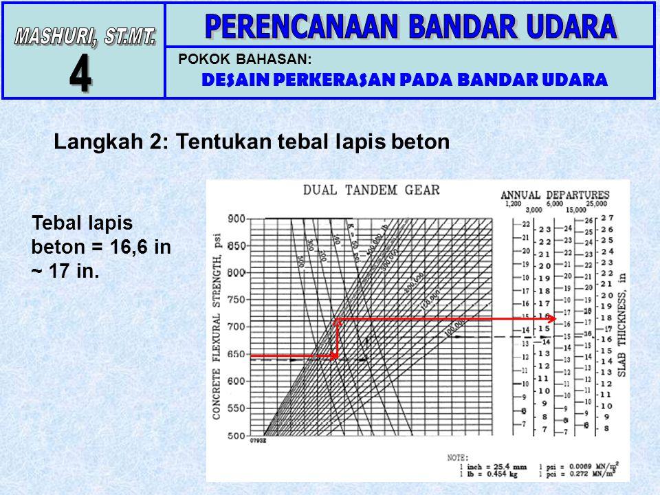 POKOK BAHASAN: DESAIN PERKERASAN PADA BANDAR UDARA Langkah 2: Tentukan tebal lapis beton Tebal lapis beton = 16,6 in ~ 17 in.
