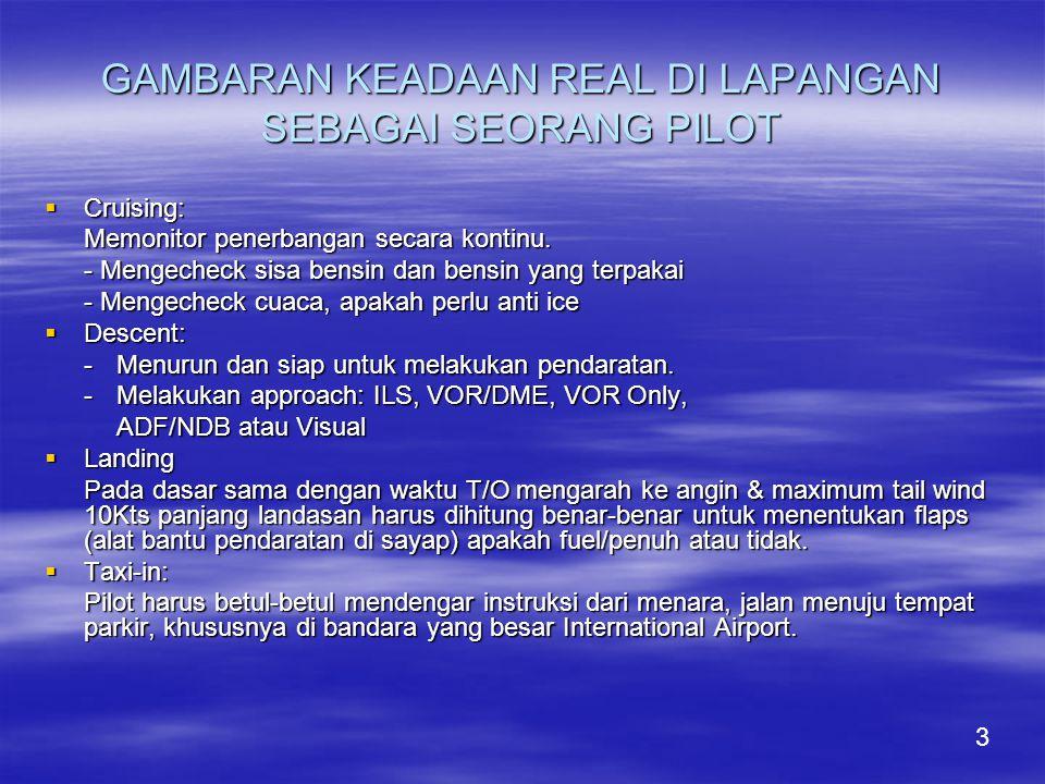 GAMBARAN KEADAAN REAL DI LAPANGAN SEBAGAI SEORANG PILOT  Cruising: Memonitor penerbangan secara kontinu.
