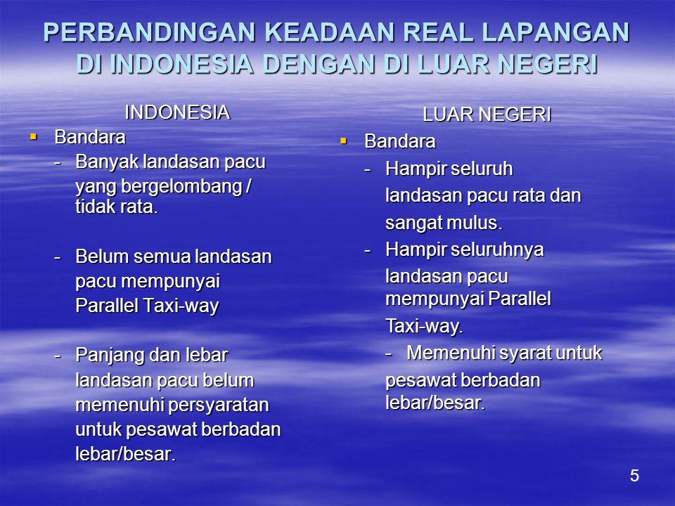 PERBANDINGAN KEADAAN REAL LAPANGAN DI INDONESIA DENGAN DI LUAR NEGERI INDONESIA  Bandara -Banyak landasan pacu yang bergelombang / tidak rata.