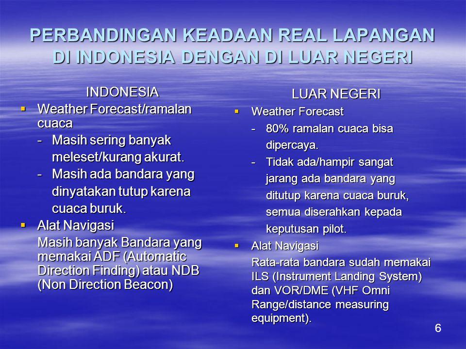 PERBANDINGAN KEADAAN REAL LAPANGAN DI INDONESIA DENGAN DI LUAR NEGERI INDONESIA  Weather Forecast/ramalan cuaca -Masih sering banyak meleset/kurang akurat.