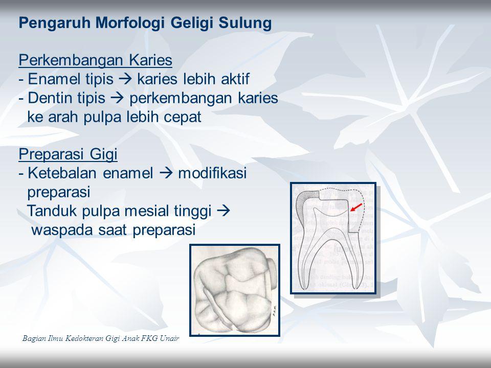 Pengaruh Morfologi Geligi Sulung Perkembangan Karies - Enamel tipis  karies lebih aktif - Dentin tipis  perkembangan karies ke arah pulpa lebih cepa