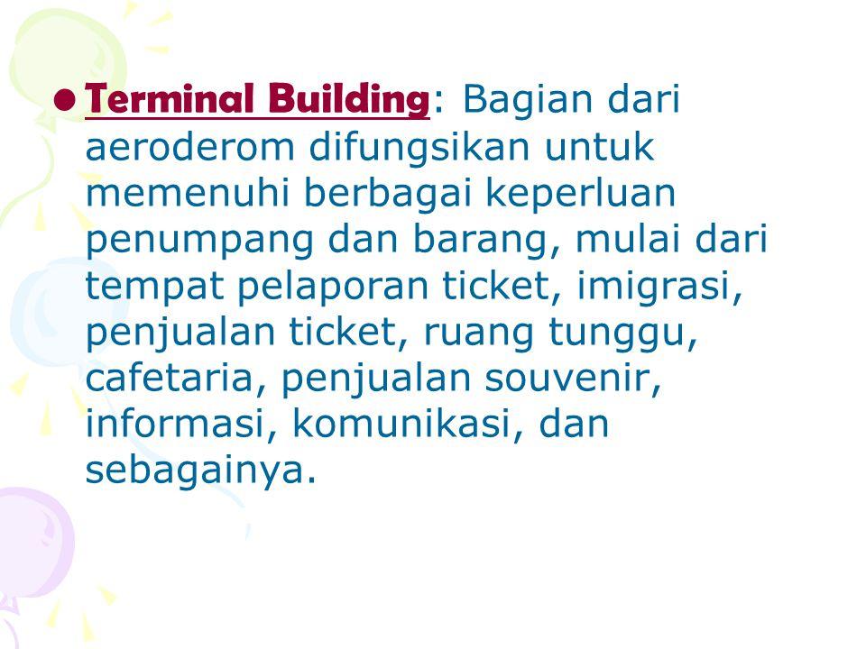 Terminal Building : Bagian dari aeroderom difungsikan untuk memenuhi berbagai keperluan penumpang dan barang, mulai dari tempat pelaporan ticket, imig
