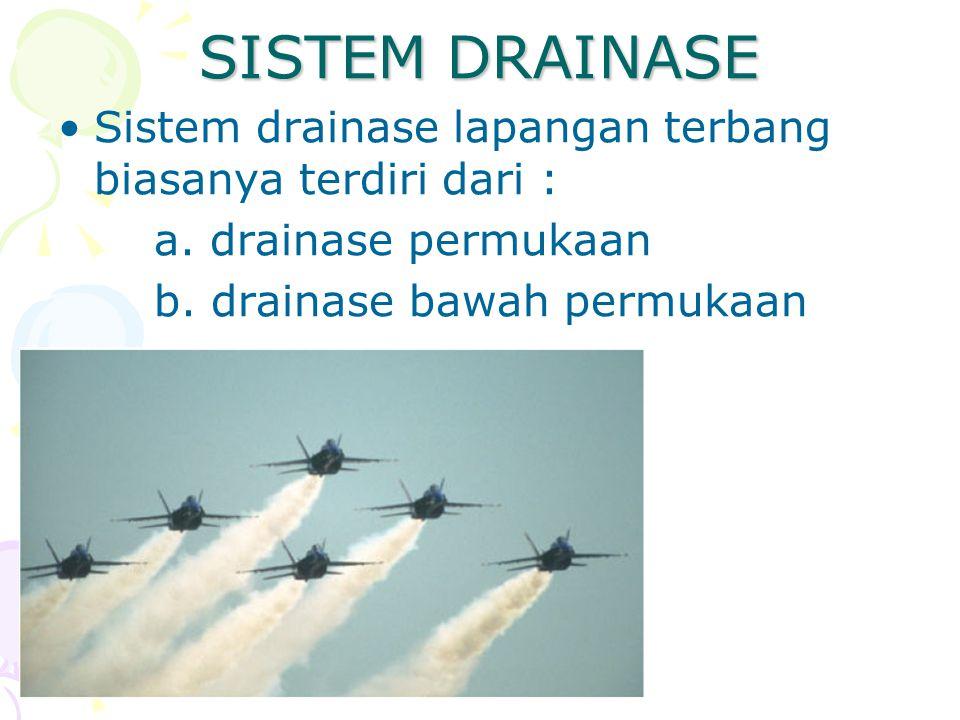SISTEM DRAINASE Sistem drainase lapangan terbang biasanya terdiri dari : a. drainase permukaan b. drainase bawah permukaan