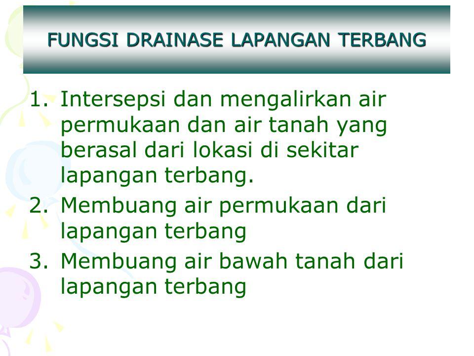 FUNGSI DRAINASE LAPANGAN TERBANG 1.Intersepsi dan mengalirkan air permukaan dan air tanah yang berasal dari lokasi di sekitar lapangan terbang. 2.Memb