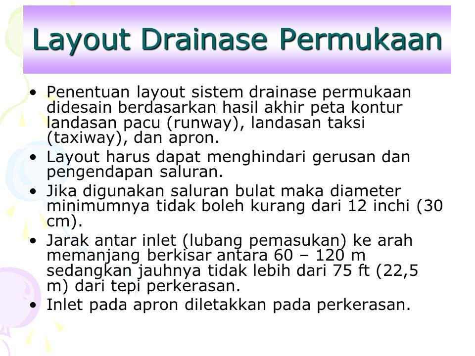 Layout Drainase Permukaan Penentuan layout sistem drainase permukaan didesain berdasarkan hasil akhir peta kontur landasan pacu (runway), landasan tak