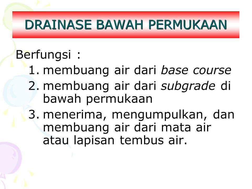 DRAINASE BAWAH PERMUKAAN Berfungsi : 1.membuang air dari base course 2.membuang air dari subgrade di bawah permukaan 3.menerima, mengumpulkan, dan mem