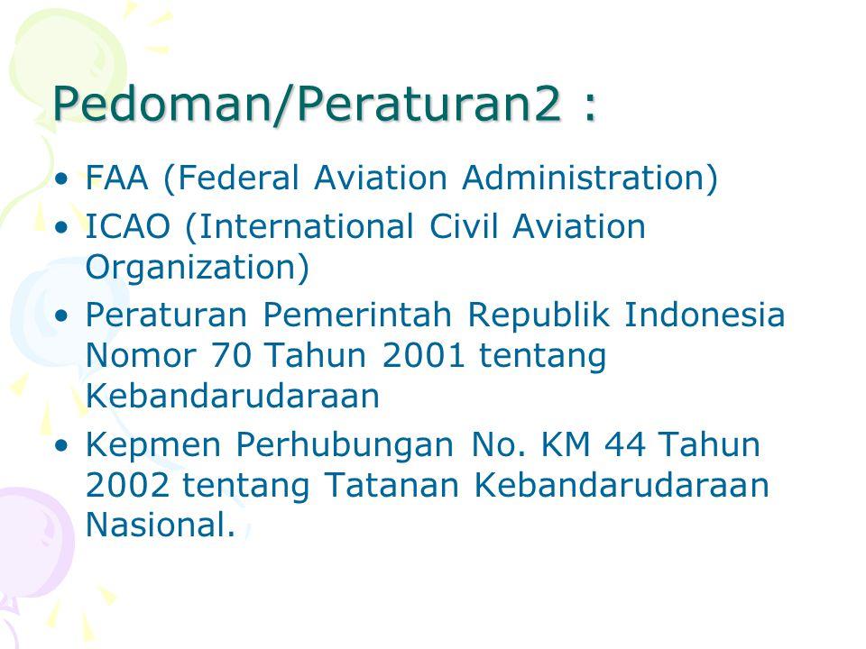 Pedoman/Peraturan2 : FAA (Federal Aviation Administration) ICAO (International Civil Aviation Organization) Peraturan Pemerintah Republik Indonesia No