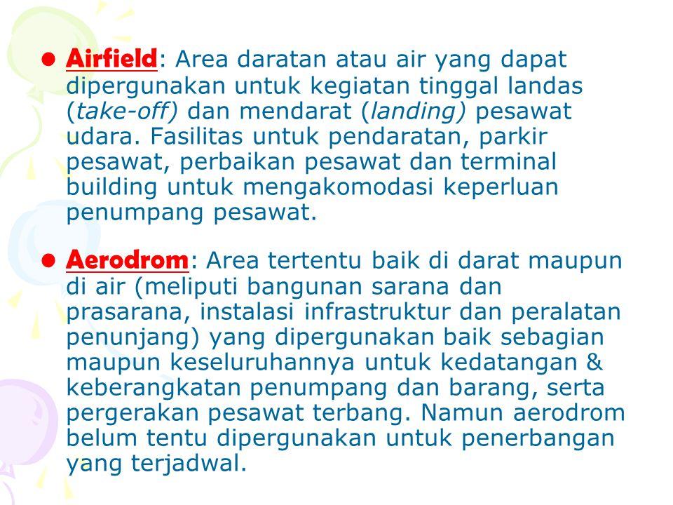 Airfield : Area daratan atau air yang dapat dipergunakan untuk kegiatan tinggal landas (take-off) dan mendarat (landing) pesawat udara. Fasilitas untu