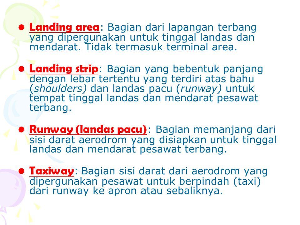 Landing area : Bagian dari lapangan terbang yang dipergunakan untuk tinggal landas dan mendarat. Tidak termasuk terminal area. Landing strip : Bagian