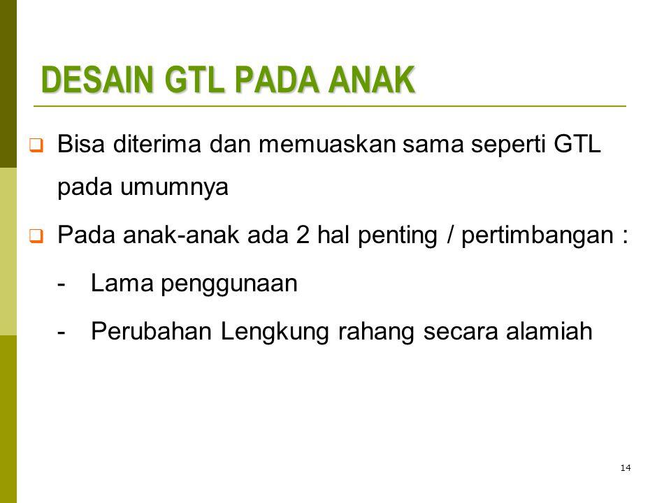 14 DESAIN GTL PADA ANAK  Bisa diterima dan memuaskan sama seperti GTL pada umumnya  Pada anak-anak ada 2 hal penting / pertimbangan : - Lama penggunaan -Perubahan Lengkung rahang secara alamiah
